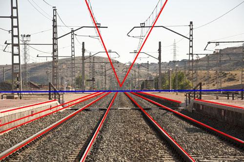 Perspectief spoorweg foto met lijnen